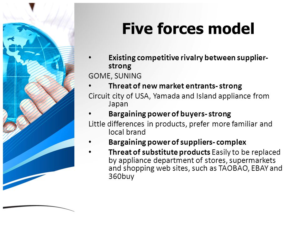 Five forces model Existing competitive rivalry between supplier- strong GOME, SUNING Threat of new market entrants- strong Circuit city of USA, Yamada