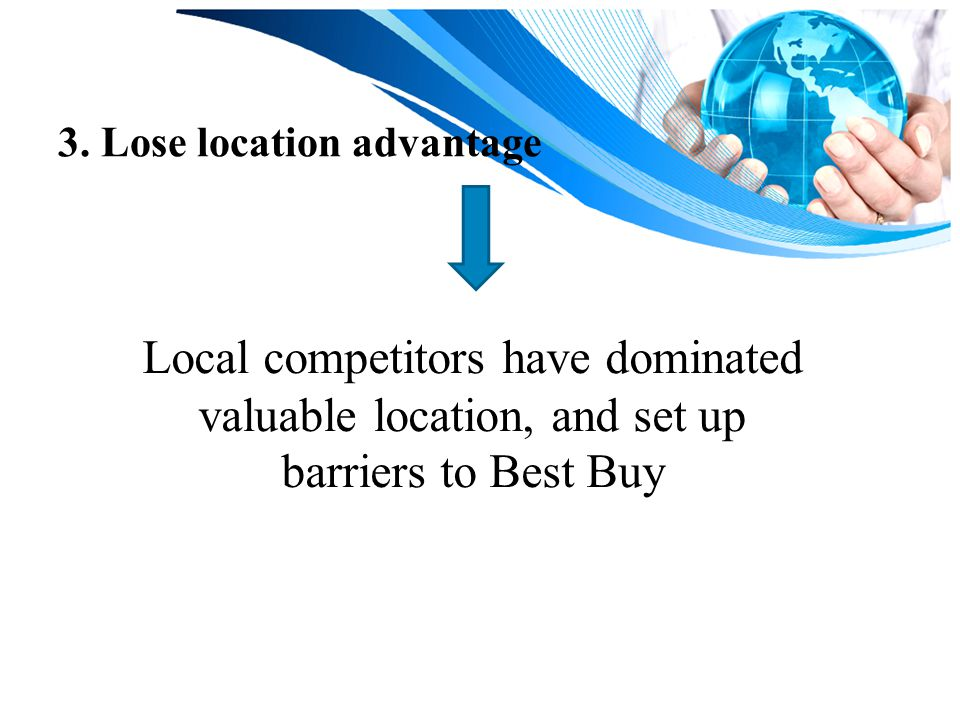 3. Lose location advantage Local competitors have dominated valuable location, and set up barriers to Best Buy