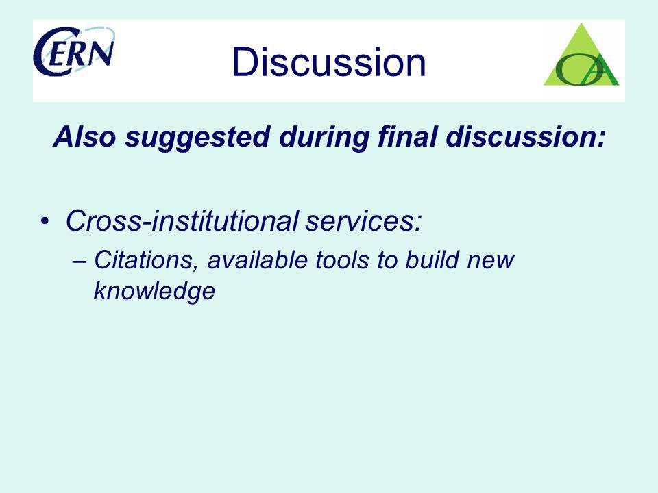 Discussion Also suggested during final discussion: Cross-institutional services: –Citations, available tools to build new knowledge