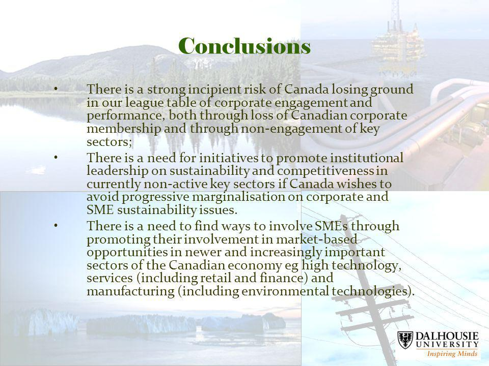 Conclusions There is a strong incipient risk of Canada losing ground in our league table of corporate engagement and performance, both through loss of Canadian corporate membership and through non-engagement of key sectors; There is a need for initiatives to promote institutional leadership on sustainability and competitiveness in currently non-active key sectors if Canada wishes to avoid progressive marginalisation on corporate and SME sustainability issues.