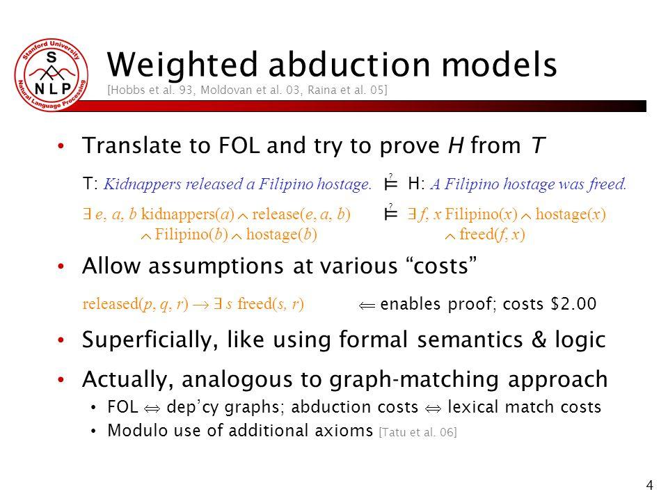 4 Weighted abduction models [Hobbs et al. 93, Moldovan et al.