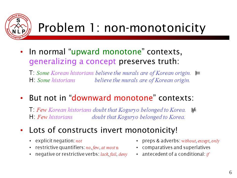 6 Problem 1: non-monotonicity In normal upward monotone contexts, generalizing a concept preserves truth: T: Some Korean historians believe the murals are of Korean origin.