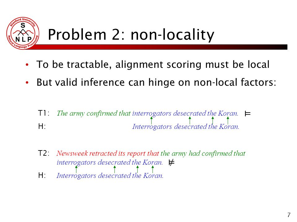 7 Problem 2: non-locality To be tractable, alignment scoring must be local But valid inference can hinge on non-local factors: T1: The army confirmed that interrogators desecrated the Koran.