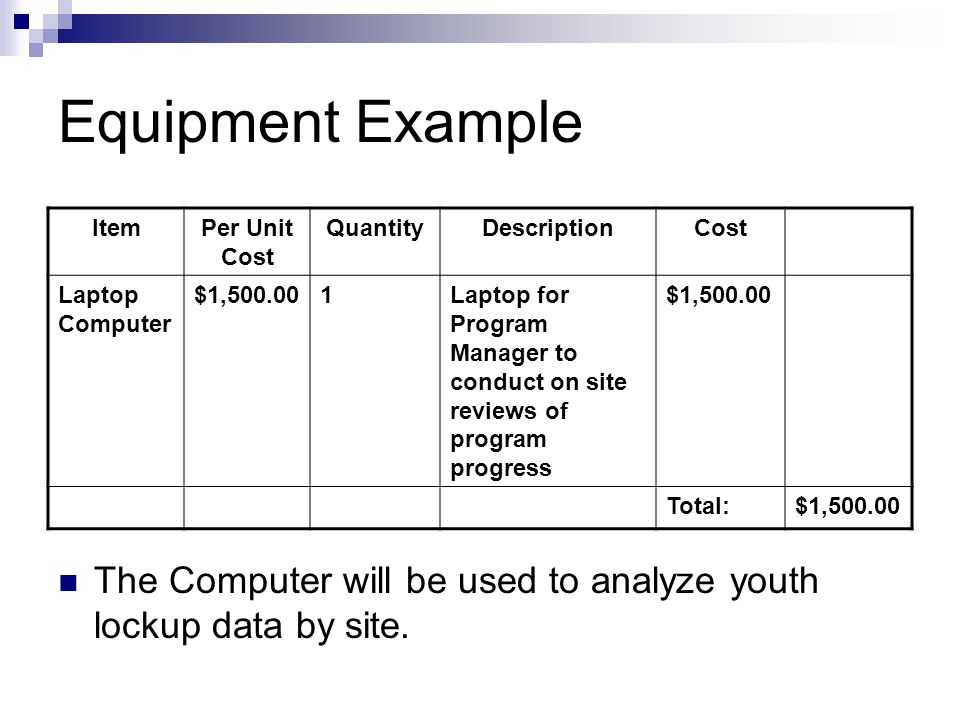 Equipment Example ItemPer Unit Cost QuantityDescriptionCost Laptop Computer $1,500.001Laptop for Program Manager to conduct on site reviews of program progress $1,500.00 Total:$1,500.00 The Computer will be used to analyze youth lockup data by site.