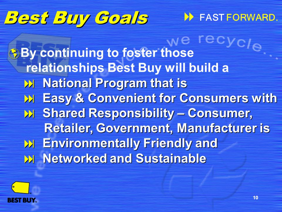 10 Best Buy Goals By continuing to foster those relationships Best Buy will build a National Program that is National Program that is Easy & Convenien