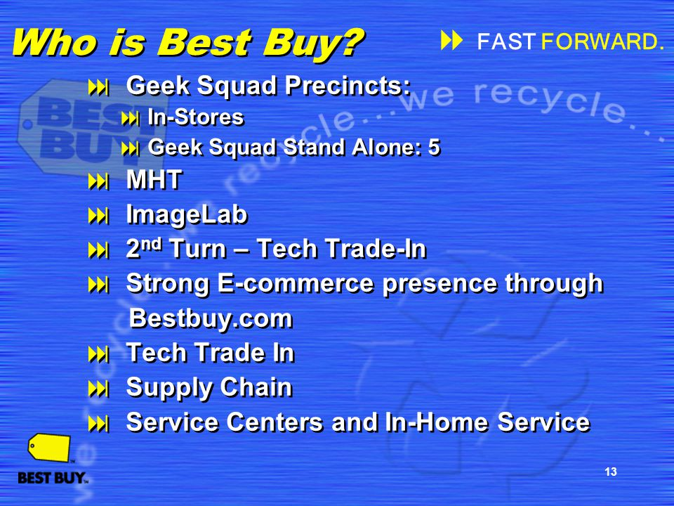 13 Who is Best Buy? Geek Squad Precincts: In-Stores Geek Squad Stand Alone: 5 MHT ImageLab 2 nd Turn – Tech Trade-In Strong E-commerce presence throug