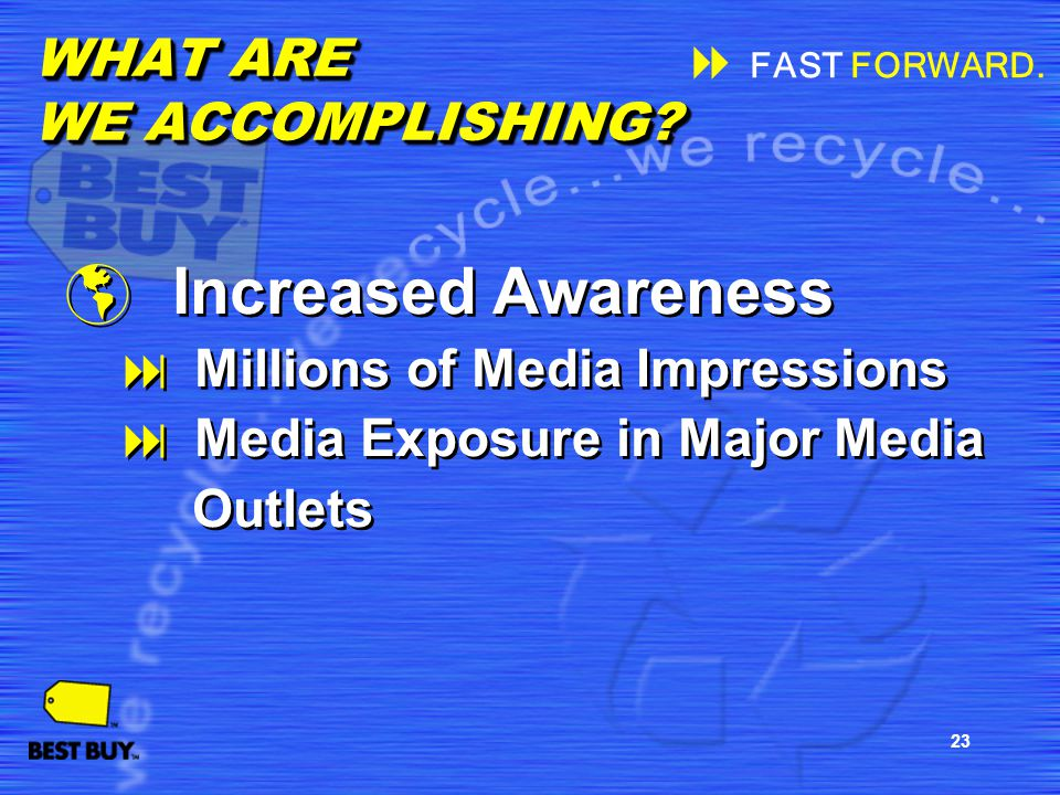 23 Increased Awareness Millions of Media Impressions Media Exposure in Major Media Outlets Increased Awareness Millions of Media Impressions Media Exp