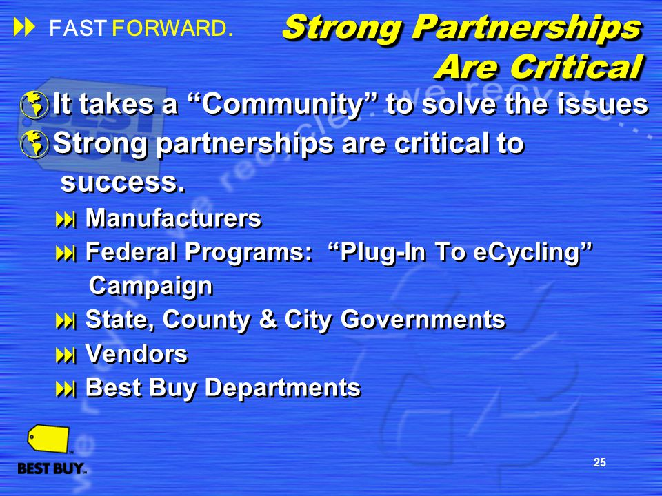 25 Strong Partnerships Are Critical It takes a Community to solve the issues Strong partnerships are critical to success. Manufacturers Federal Progra