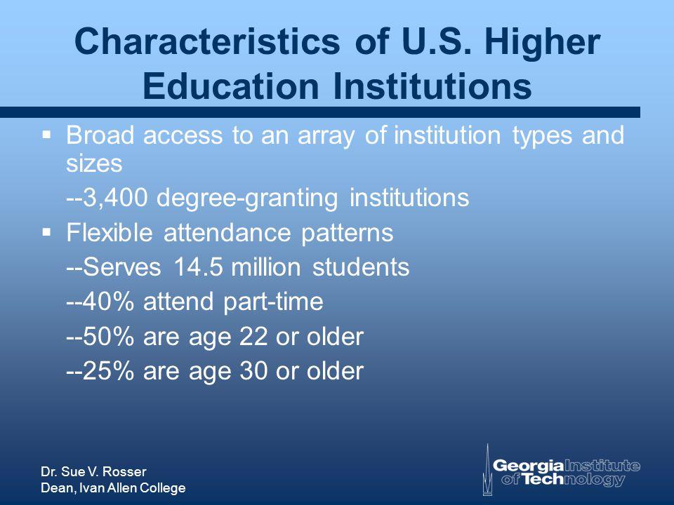 Dr. Sue V. Rosser Dean, Ivan Allen College Characteristics of U.S.
