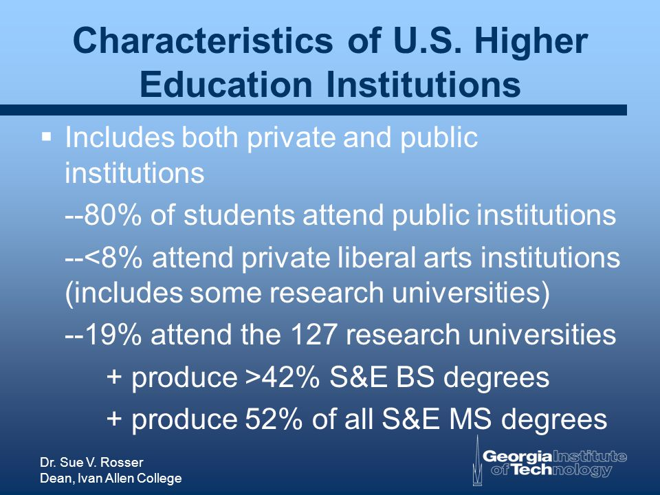 Dr. Sue V. Rosser Dean, Ivan Allen College Characteristics of U.S. Higher Education Institutions Includes both private and public institutions --80% o