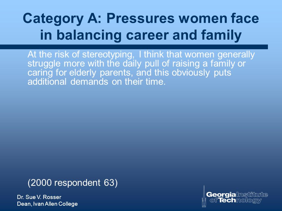 Dr. Sue V. Rosser Dean, Ivan Allen College Category A: Pressures women face in balancing career and family At the risk of stereotyping, I think that w