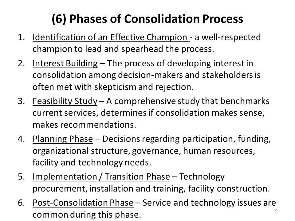 9 (6) Phases of Consolidation Process 1.Identification of an Effective Champion - a well-respected champion to lead and spearhead the process. 2.Inter