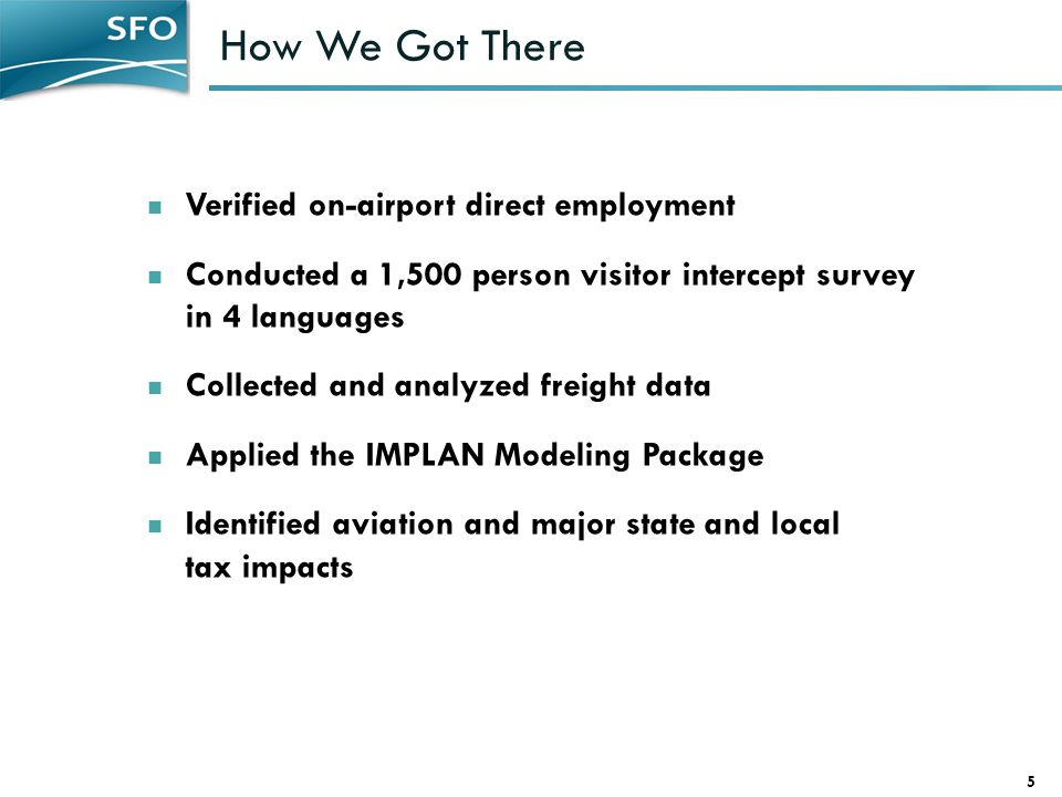 How We Got There 5 Verified on-airport direct employment Conducted a 1,500 person visitor intercept survey in 4 languages Collected and analyzed freight data Applied the IMPLAN Modeling Package Identified aviation and major state and local tax impacts
