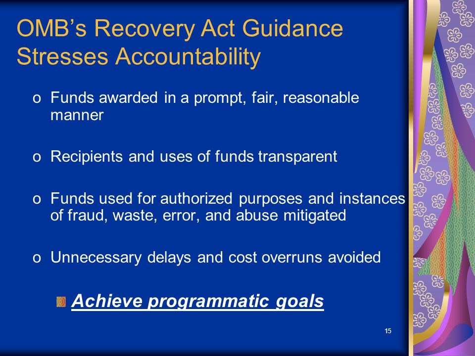 15 OMBs Recovery Act Guidance Stresses Accountability oFunds awarded in a prompt, fair, reasonable manner oRecipients and uses of funds transparent oFunds used for authorized purposes and instances of fraud, waste, error, and abuse mitigated oUnnecessary delays and cost overruns avoided Achieve programmatic goals