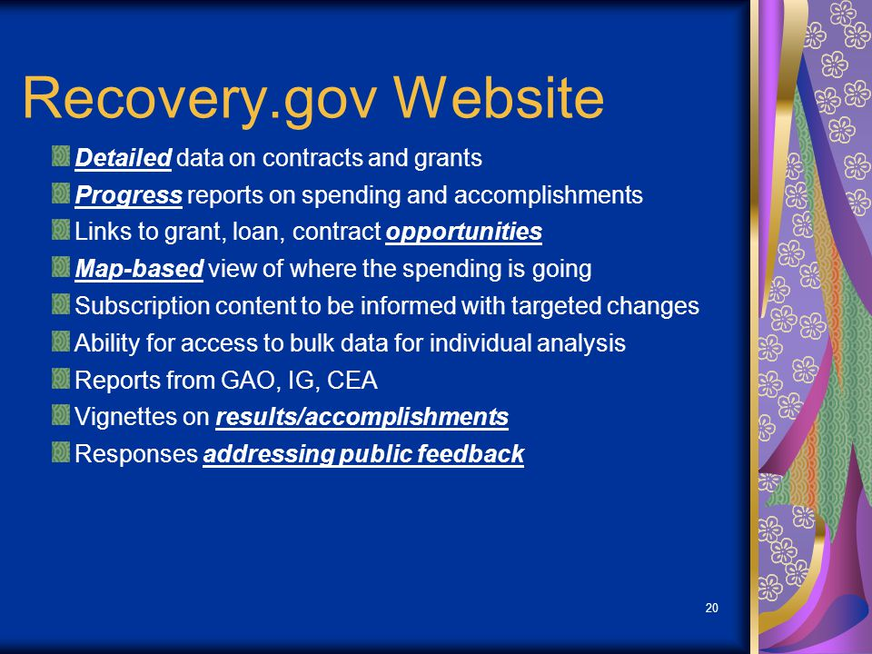 20 Recovery.gov Website Detailed data on contracts and grants Progress reports on spending and accomplishments Links to grant, loan, contract opportunities Map-based view of where the spending is going Subscription content to be informed with targeted changes Ability for access to bulk data for individual analysis Reports from GAO, IG, CEA Vignettes on results/accomplishments Responses addressing public feedback