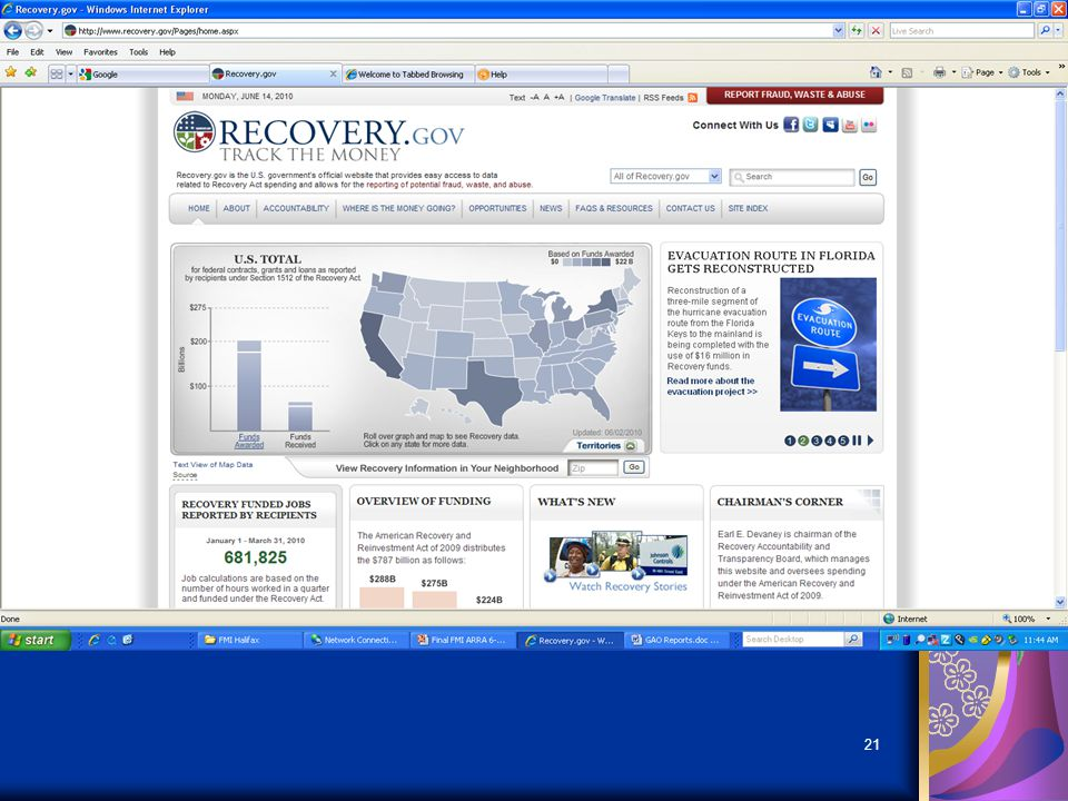 20 Recovery.gov Website Detailed data on contracts and grants Progress reports on spending and accomplishments Links to grant, loan, contract opportun