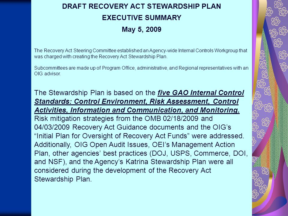 27 DRAFT RECOVERY ACT STEWARDSHIP PLAN EXECUTIVE SUMMARY May 5, 2009 The Recovery Act Steering Committee established an Agency-wide Internal Controls Workgroup that was charged with creating the Recovery Act Stewardship Plan.
