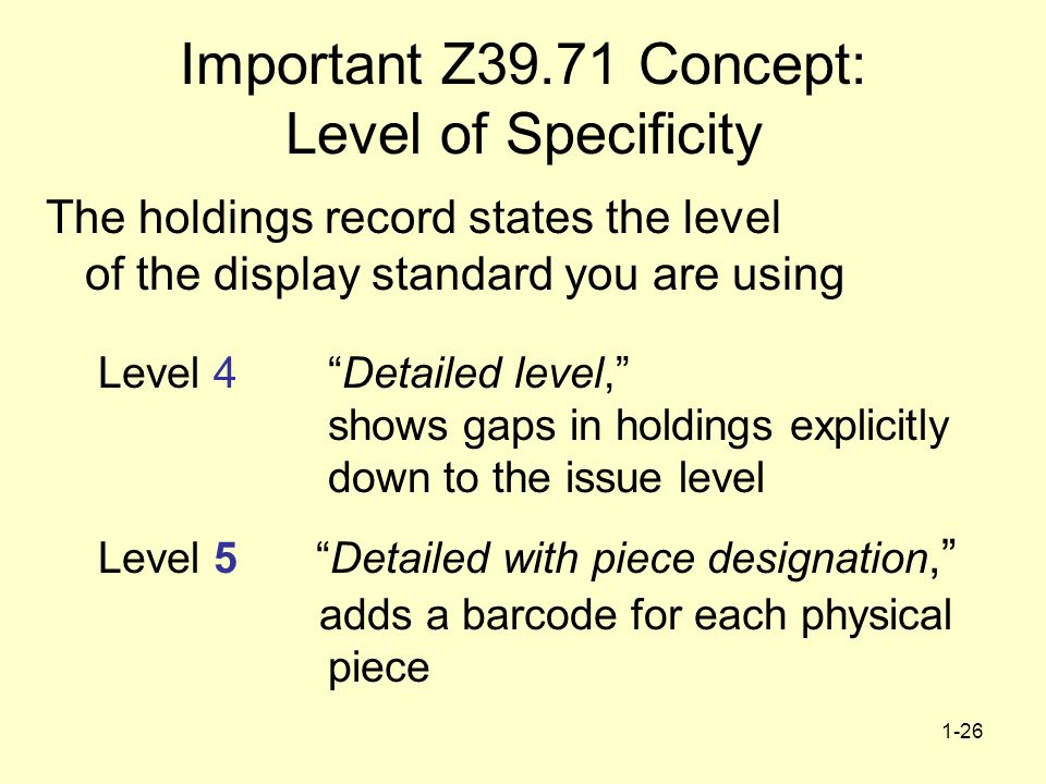 1-26 Important Z39.71 Concept: Level of Specificity The holdings record states the level of the display standard you are using Level 4 Detailed level, shows gaps in holdings explicitly down to the issue level Level 5 Detailed with piece designation, adds a barcode for each physical piece