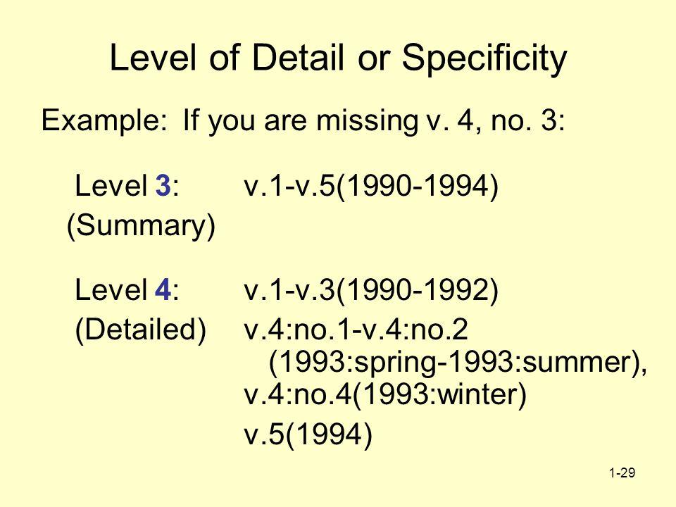 1-29 Level of Detail or Specificity Example: If you are missing v. 4, no. 3: Level 3:v.1-v.5(1990-1994) (Summary) Level 4:v.1-v.3(1990-1992) (Detailed