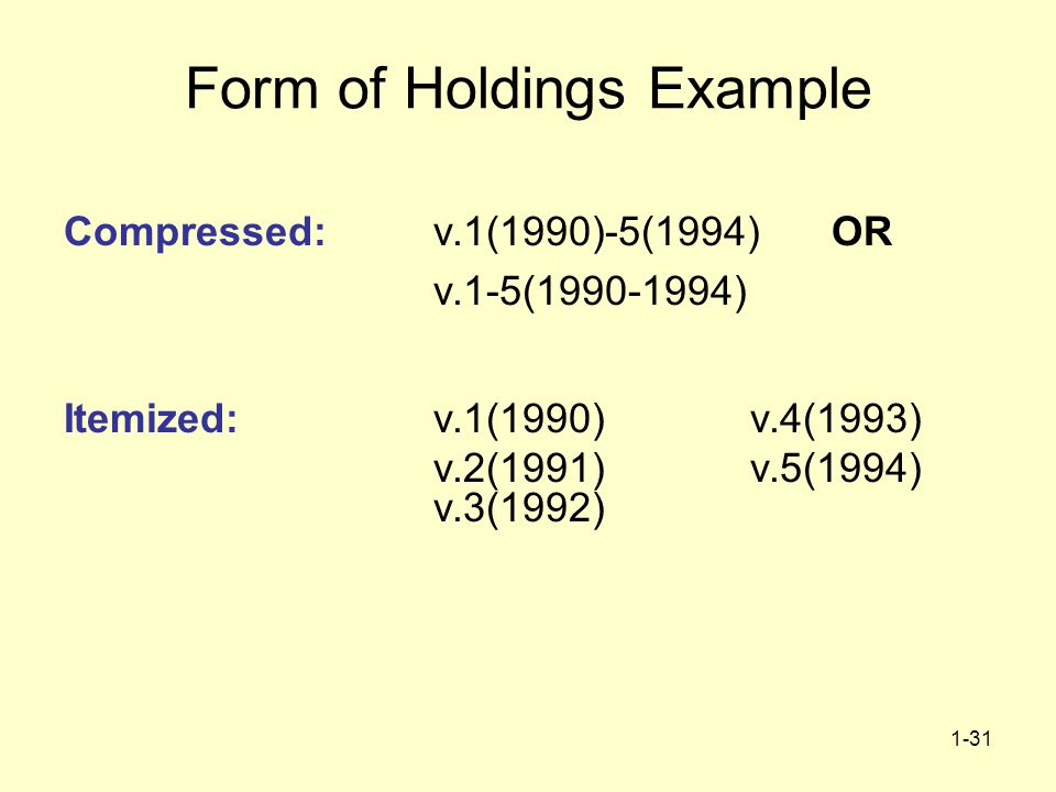 1-31 Form of Holdings Example Compressed: v.1(1990)-5(1994) OR v.1-5(1990-1994) Itemized:v.1(1990)v.4(1993) v.2(1991) v.5(1994) v.3(1992)