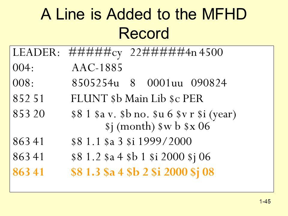 1-45 A Line is Added to the MFHD Record LEADER: #####cy 22#####4n 4500 004: AAC-1885 008: 8505254u 8 0001uu 090824 852 51 FLUNT $b Main Lib $c PER 853