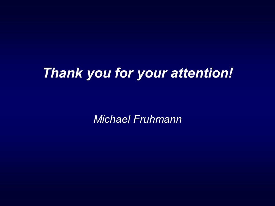 Thank you for your attention! Michael Fruhmann