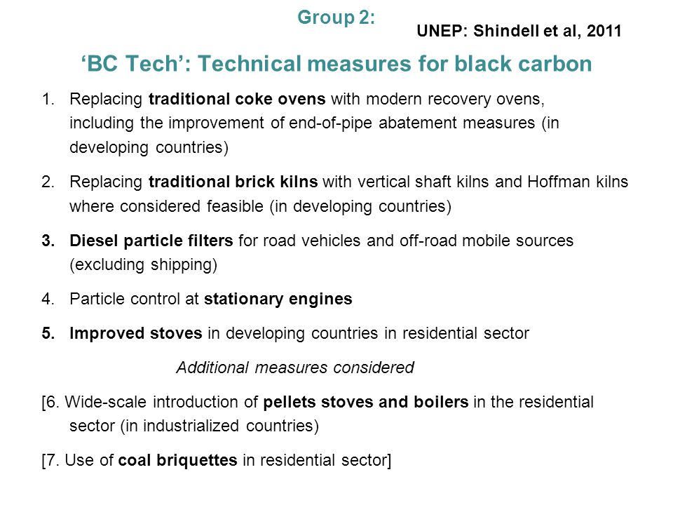 Group 2: BC Tech: Technical measures for black carbon 1.Replacing traditional coke ovens with modern recovery ovens, including the improvement of end-