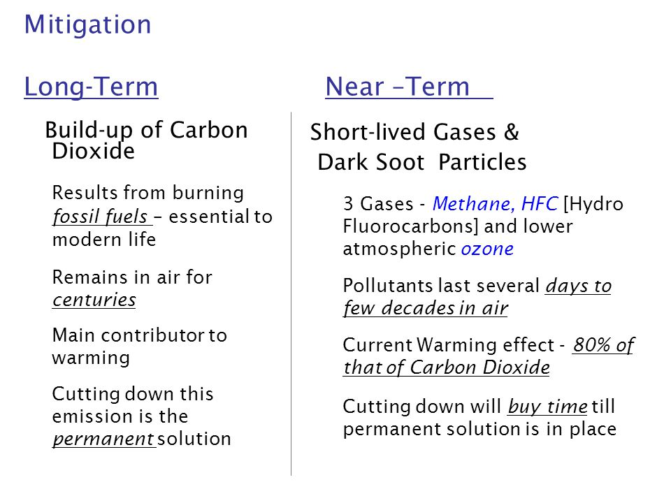 Mitigation Long-Term Near –Term Build-up of Carbon Dioxide Results from burning fossil fuels – essential to modern life Remains in air for centuries M