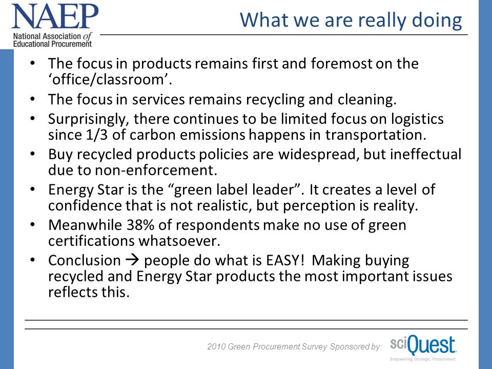 2009 Green Procurement Survey Sponsored by: 2010 The focus in products remains first and foremost on the office/classroom.