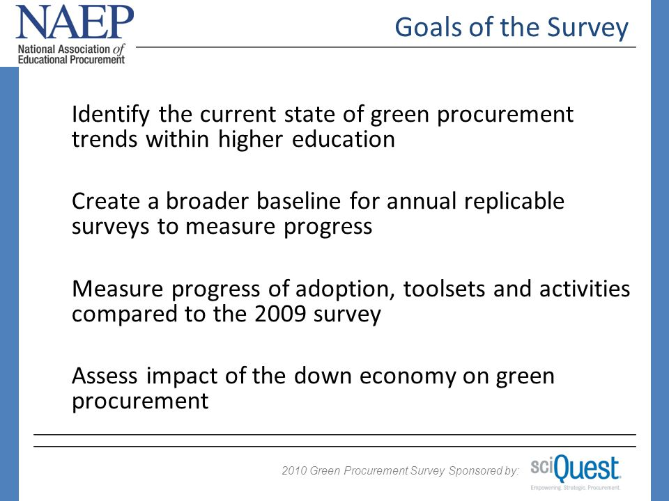 2009 Green Procurement Survey Sponsored by: 2010 Perception could be altered by education Q 12: Have you read the NAEP Green Purchasing Policy Roadmap.