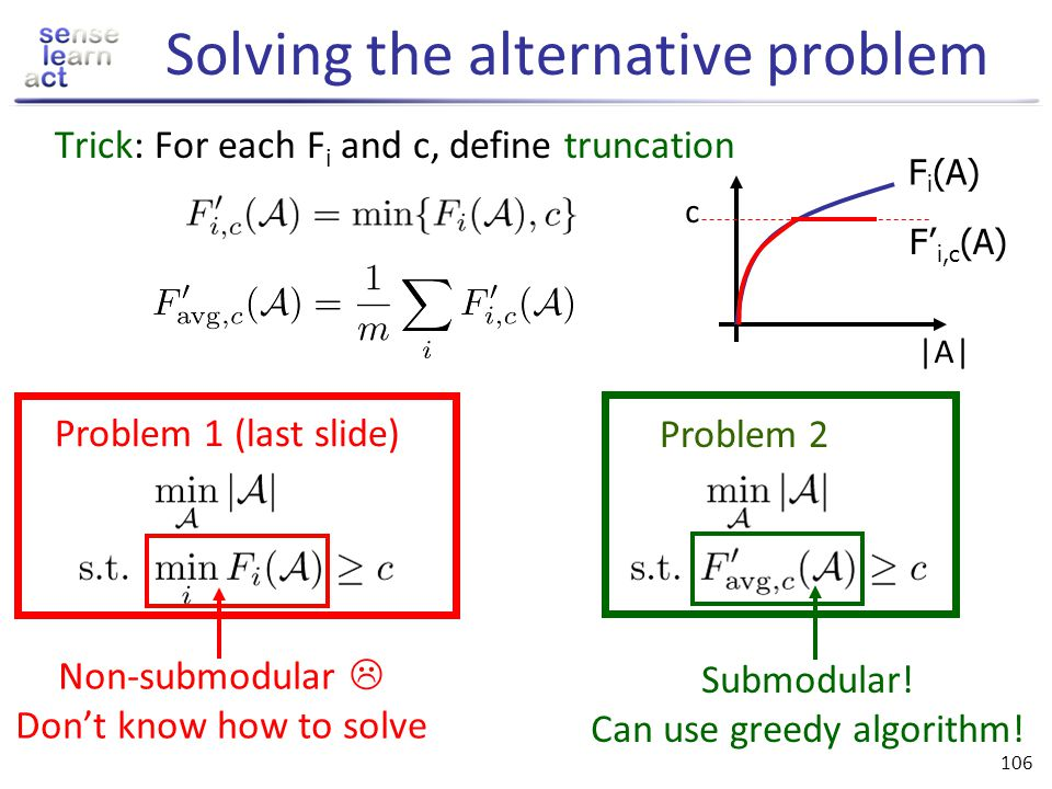 105 Maximization vs. coverage Previously: Wanted A* = argmax F(A) s.t. |A| · k Now need to solve: A* = argmin |A| s.t. F(A) ¸ Q Greedy algorithm: Star