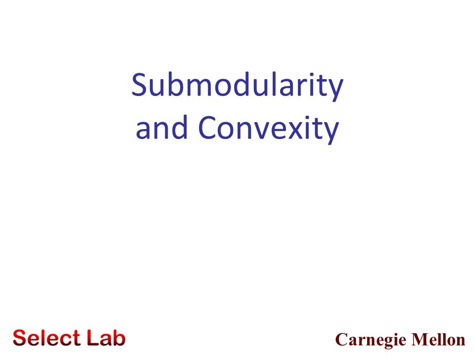 26 Tutorial Overview Examples and properties of submodular functions Many problems submodular (mutual information, influence, …) SFs closed under posi