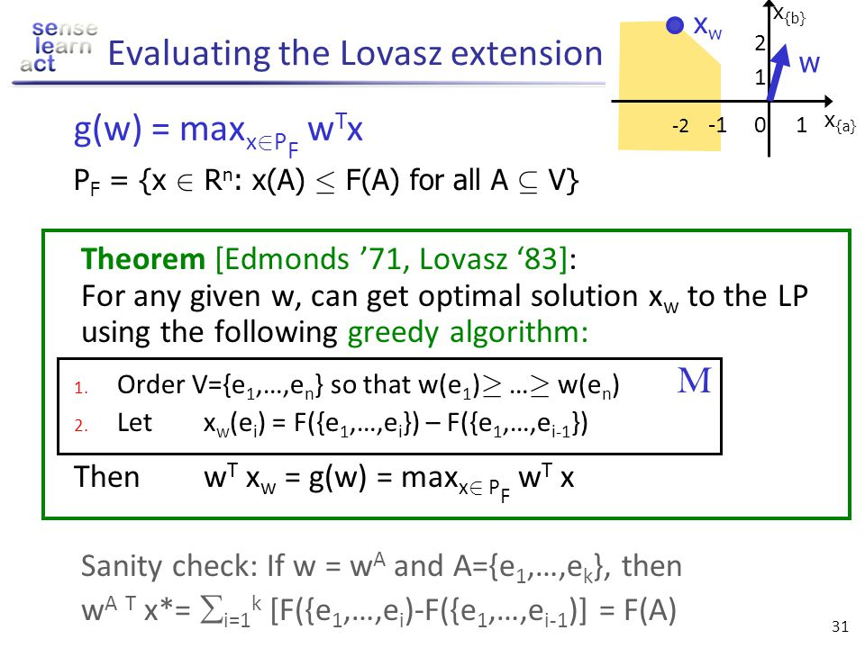 30 Lovasz extension Evaluating g(w) requires solving a linear program with exponentially many constraints Claim: g(w) = max x 2 P F w T x P F = {x 2 R