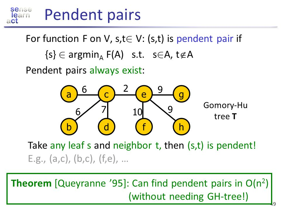 48 Gomory Hu trees A tree T is called Gomory-Hu (GH) tree for SF F if for any s, t 2 V it holds that min {F(A): s 2 A and t A} = min {w i,j : (i,j) is