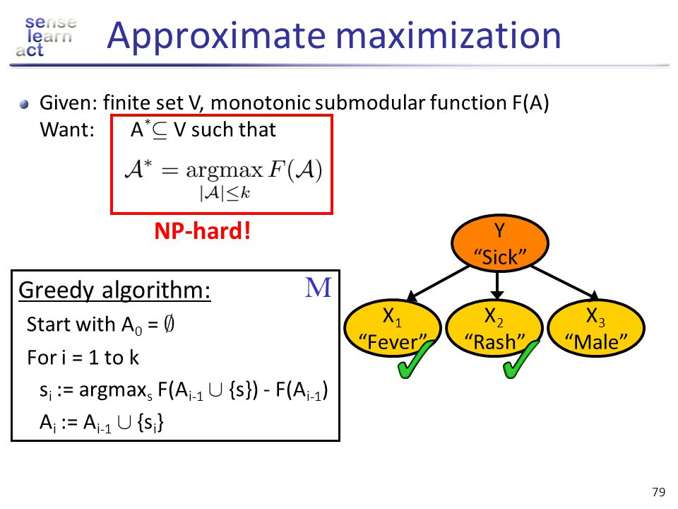 78 Exact maximization of monotonic submodular functions 1) Mixed integer programming [Nemhauser et al 81] 2) Branch-and-bound: Data-correcting algorit