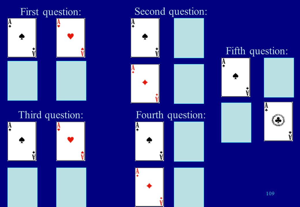 108 With 4 cards If I repeat my two questions three times each, I need 6 questions Better way: 5 questions suffice Repeat each of the two previous questions twice and use the parity check bit.