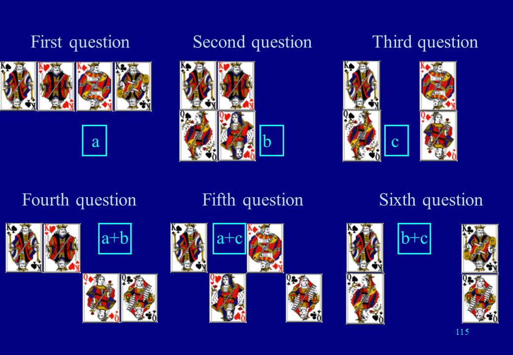 114 8 cards, 6 questions, corrects 1 error Ask the three questions giving the right answer if there is no error, then use the parity check for questions (1,2), (1,3) and (2,3).