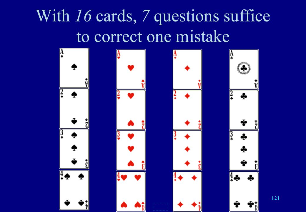 120 Number of questions No errorDetects 1 errorCorrect 1 error 2 cards123 4 cards235 8 cards346 16 cards457