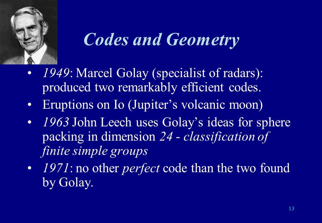 12 Codes and Mathematics Algebra (discrete mathematics finite fields, linear algebra,…) Geometry Probability and statistics