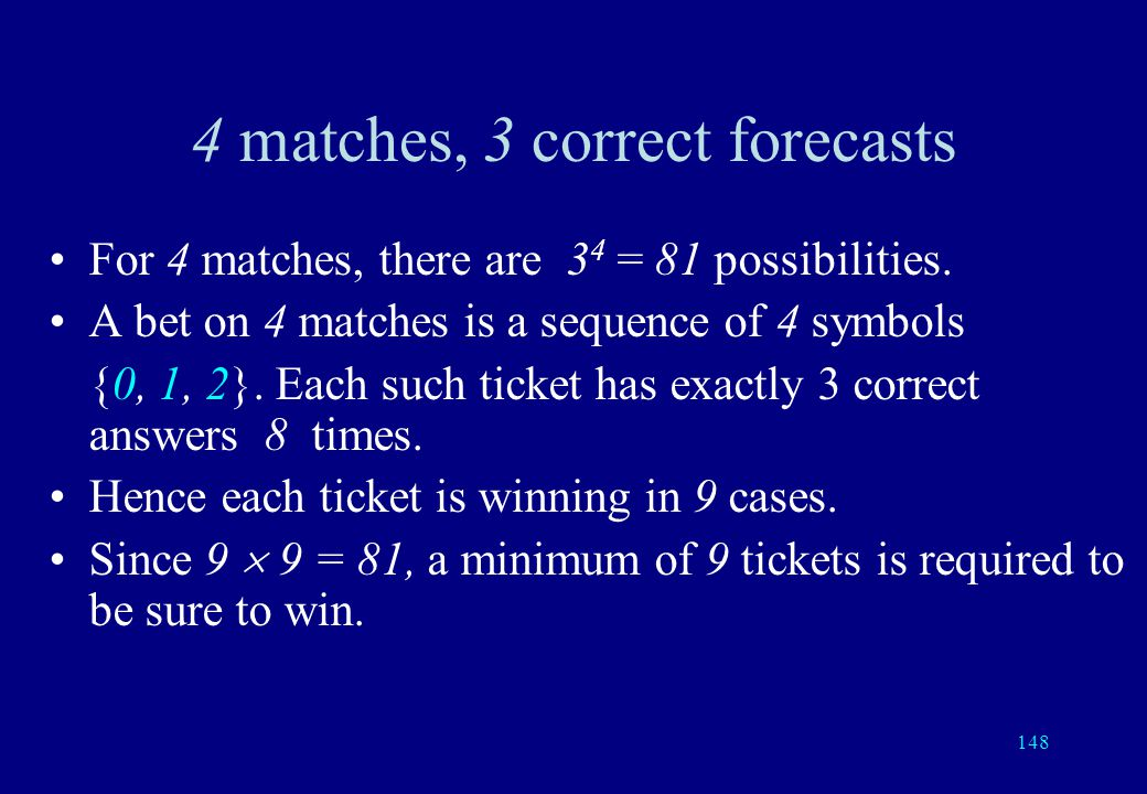 147 SPORT TOTO: the oldest error correcting code A match between two players (or teams) may give three possible results: either player 1 wins, or play