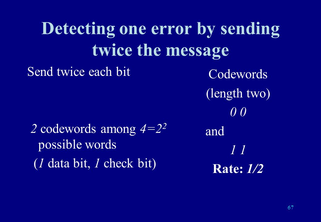 66 Principle of coding theory Only certain words are allowed (code = dictionary of valid words).
