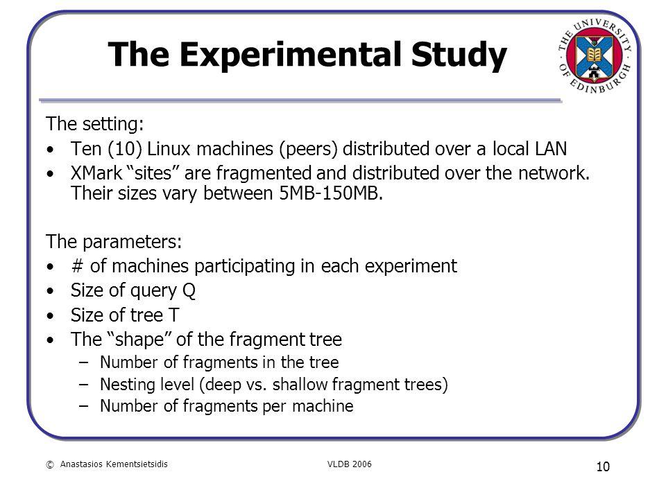 © Anastasios KementsietsidisVLDB 2006 10 The Experimental Study The setting: Ten (10) Linux machines (peers) distributed over a local LAN XMark sites