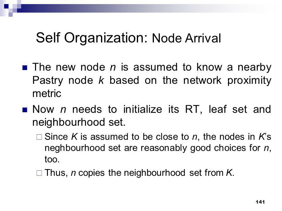 141 Self Organization: Node Arrival The new node n is assumed to know a nearby Pastry node k based on the network proximity metric Now n needs to init