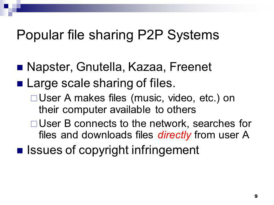 9 Popular file sharing P2P Systems Napster, Gnutella, Kazaa, Freenet Large scale sharing of files. User A makes files (music, video, etc.) on their co