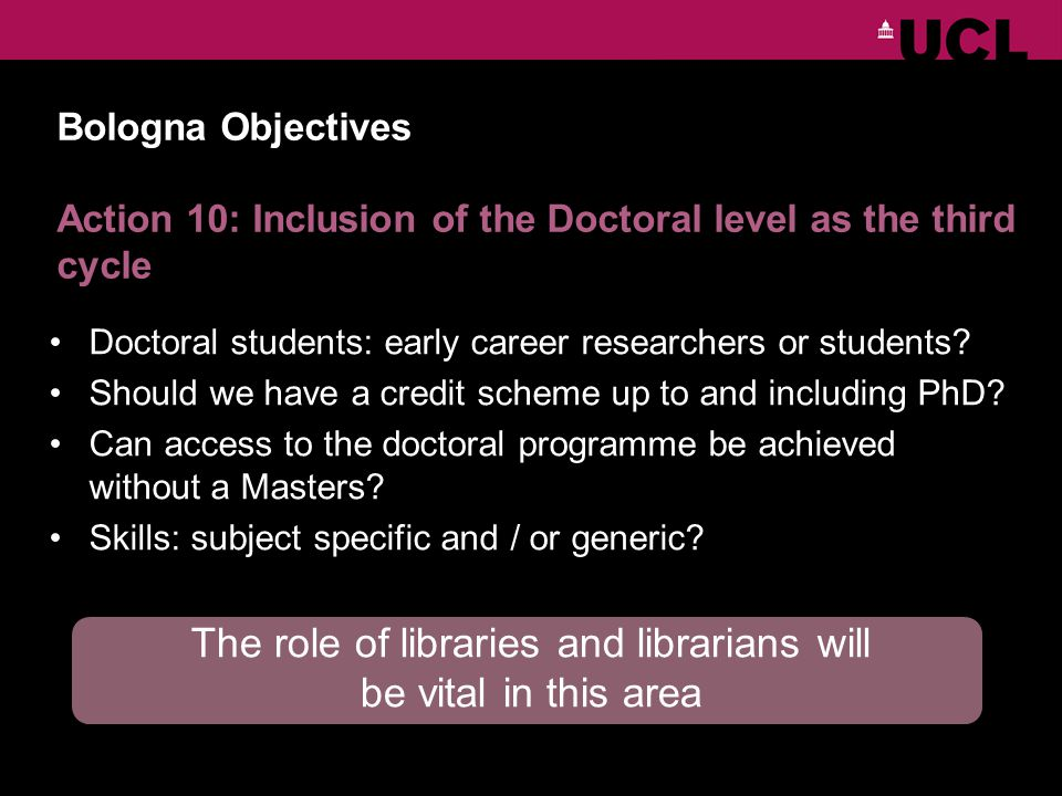 Bologna Objectives Action 10: Inclusion of the Doctoral level as the third cycle Doctoral students: early career researchers or students.
