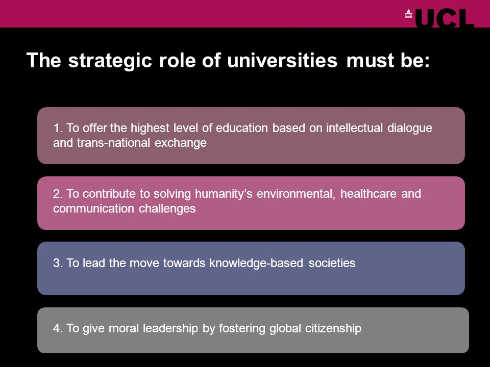 The strategic role of universities must be: 1.