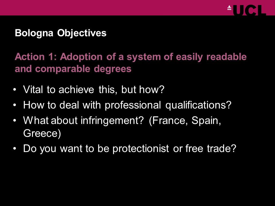Bologna Objectives Action 1: Adoption of a system of easily readable and comparable degrees Vital to achieve this, but how.