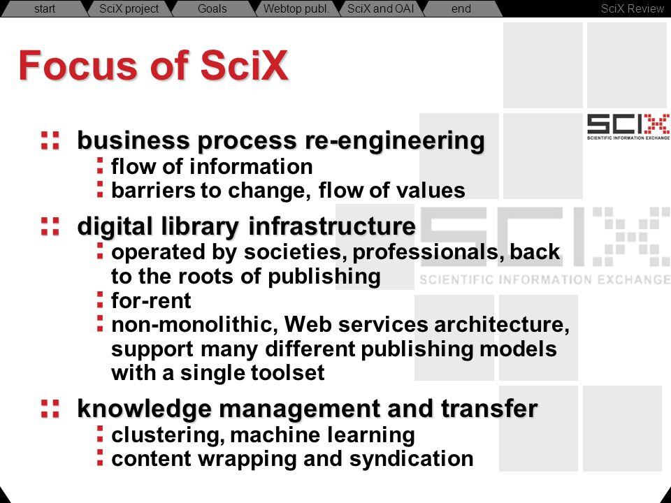 SciX Review endSciX and OAIWebtop publ.GoalsSciX projectstart Focus of SciX business process re-engineering flow of information barriers to change, fl