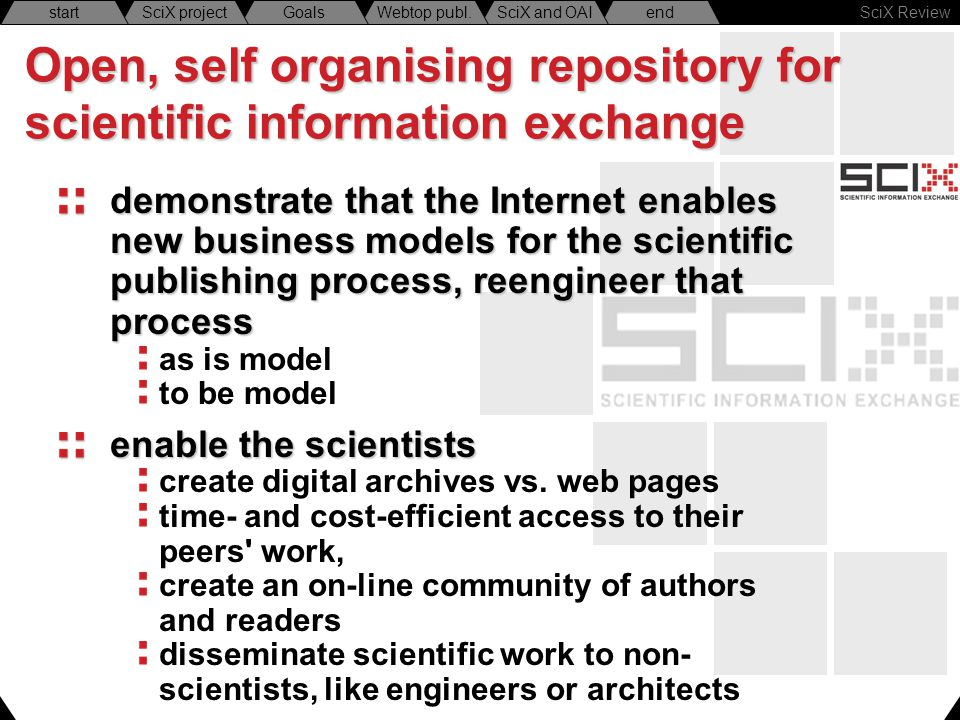 SciX Review endSciX and OAIWebtop publ.GoalsSciX projectstart Open, self organising repository for scientific information exchange demonstrate that th