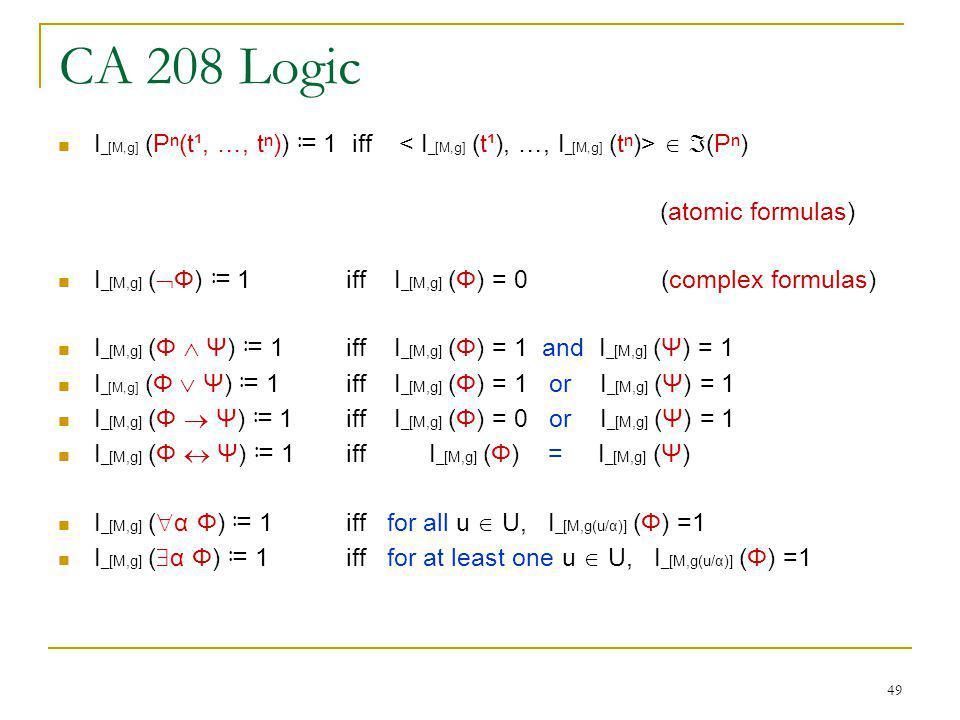 49 CA 208 Logic I _[M,g] (P(t¹, …, t)) 1 iff (P) (atomic formulas) I _[M,g] ( Φ) 1 iff I _[M,g] (Φ) = 0 (complex formulas) I _[M,g] (Φ Ψ) 1 iff I _[M,